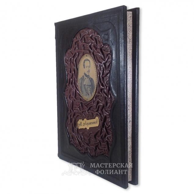 Книга стихов Лермонтова в подарочном издании в кожаном переплете, художественный обрез